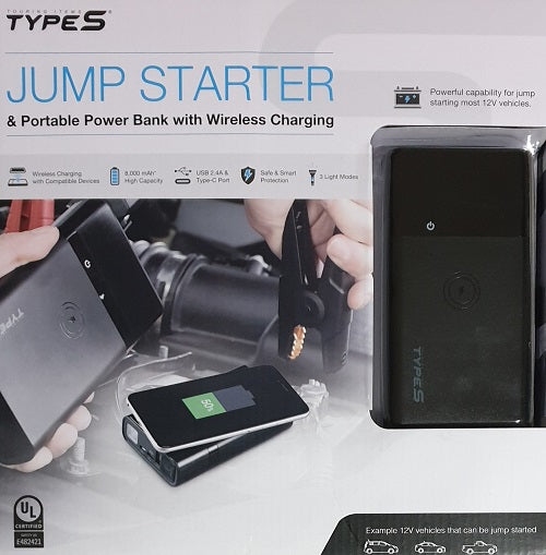Jump Starter & Portable Power Bank With Wireless Charging