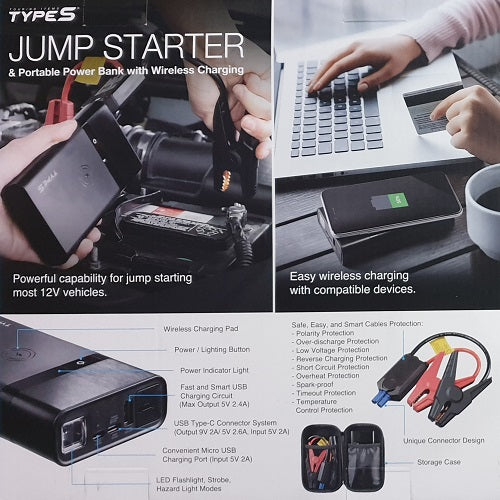 TypeS Jump Starter & Portable Power Bank With Wireless Charging