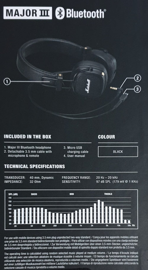 Marshall Major III Bluetooth Wireless Headphones Black