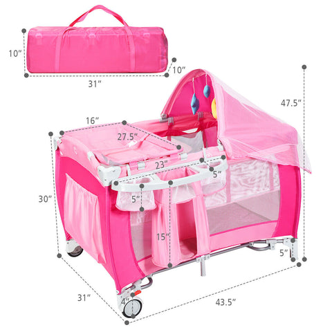 Pink Portable Crib easy to fold