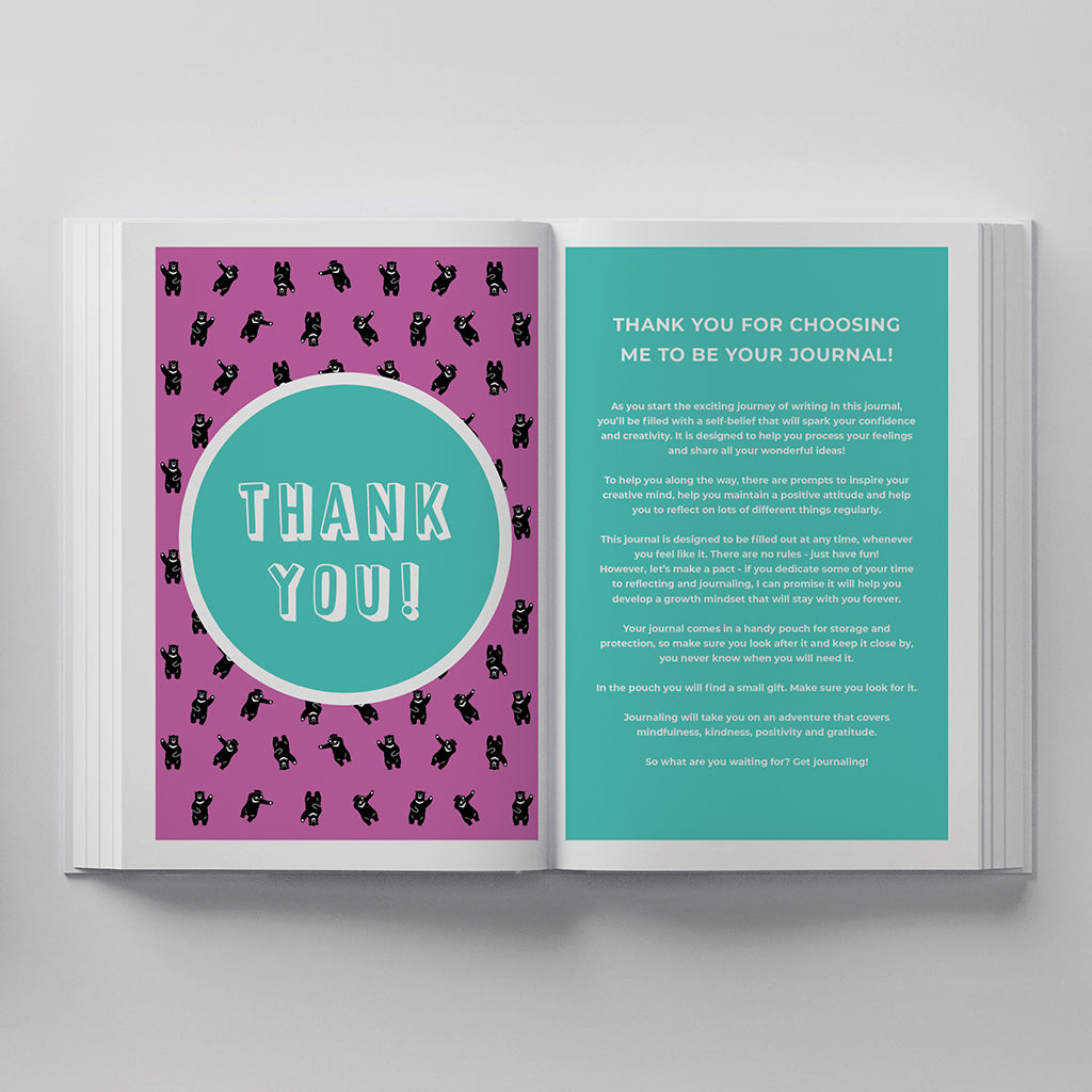 truly amor kids journal thank you page