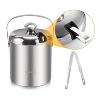 Homdox Ice Bucket Stainless Steel Ice Buckets Double Wall Insulated