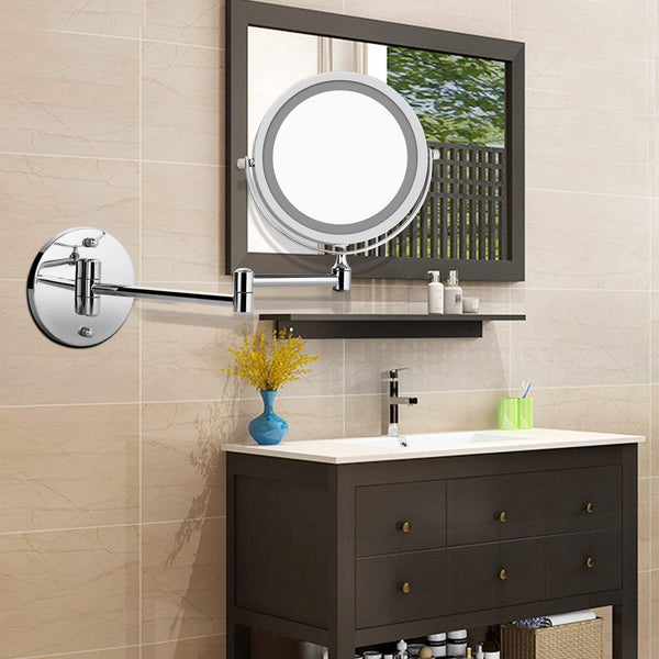 "Homdox 7"" LED Double Sided Swivel Wall Mount Vanity Mirror 5X(7"" 5X)"