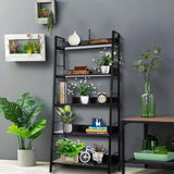 Homdox 5 Tier Ladder Shelf Industrial Bookshelf Wood Metal Bookcase,B