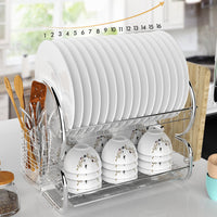 Homdox 2 Tier Stainless Steel Chrome Kitchen Dish Rack Drainer Board Set