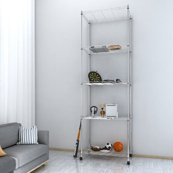 Homdox 5 Tier Steel Wire Shelving Unit Chrome Shelves Heavy Duty Rack