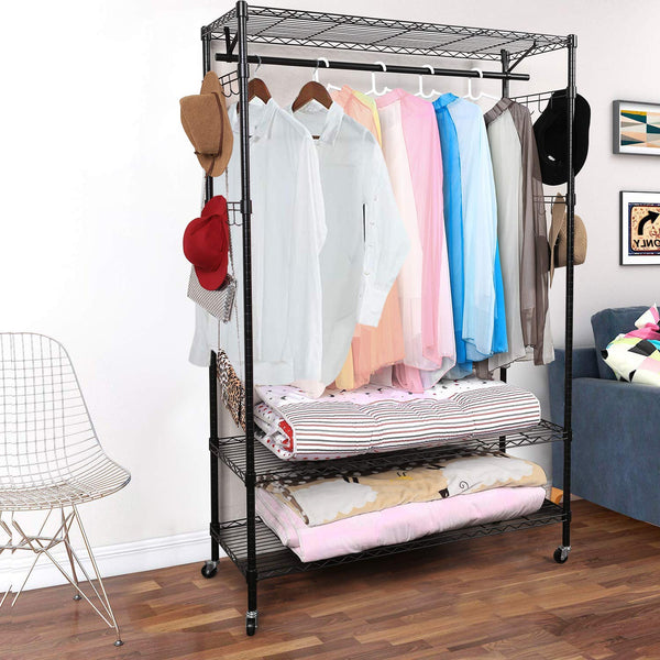 Homdox 3-Tiers Big Size Heavy Duty Wire Shelving Unit Garment Rack,B