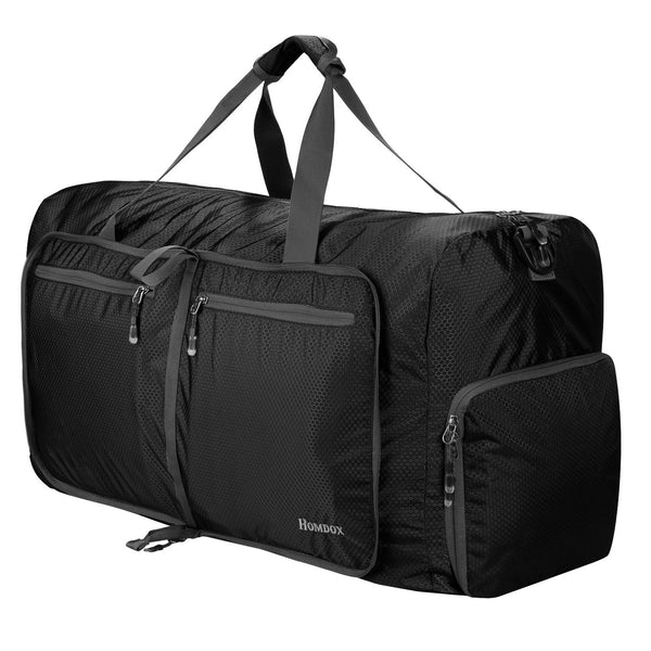 Homdox 80L Duffle Bag Waterproof Lightweight Foldable Camping Bag-Black