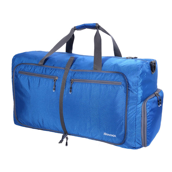 Homdox 80L Duffle Bag Waterproof Lightweight Foldable Camping Bag-Blue