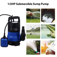Homdox Sump Pump 1/2HP 2112GPH Submersible Clean Dirty Water Pump Blue
