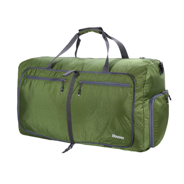 Homdox 80L Duffle Bag Waterproof Lightweight Foldable Camping Bag-Dark Green