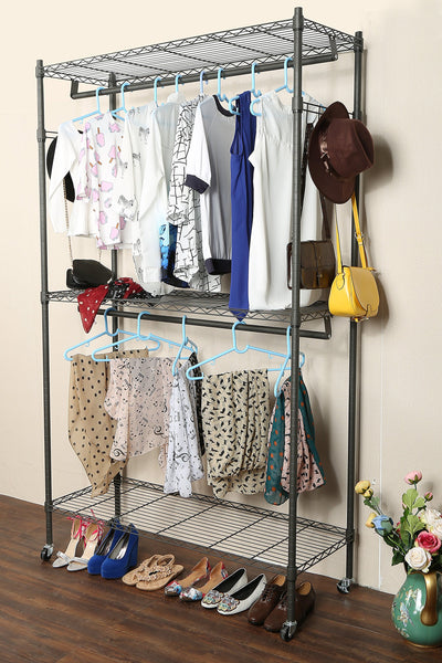 Homdox 3 Shelves Wire Shelving Clothing Rolling Rack Heavy Duty Gray