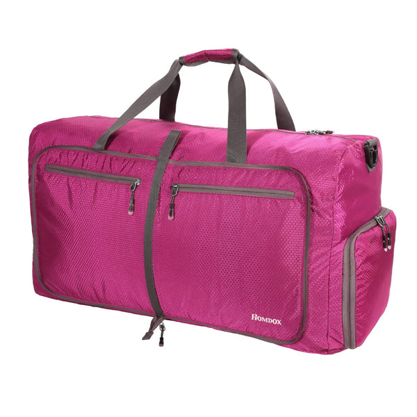 Homdox 80L Duffle Bag Waterproof Lightweight Foldable Camping Bag-Rose Red