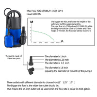 Homdox 1HP Sump Pump Submersible Water Pump Electric Clean Water Pump