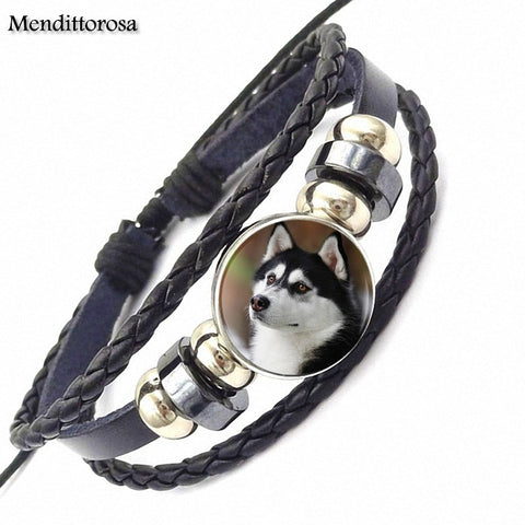 Husky Dog Black Leather Bracelet