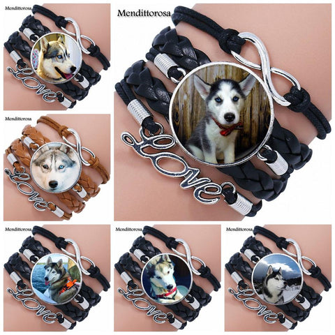 Husky Dog Leather Bracelet