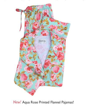 New! Aqua Rose Flannel Pajamas + LAST DAY For 20% off + Free Shipping!