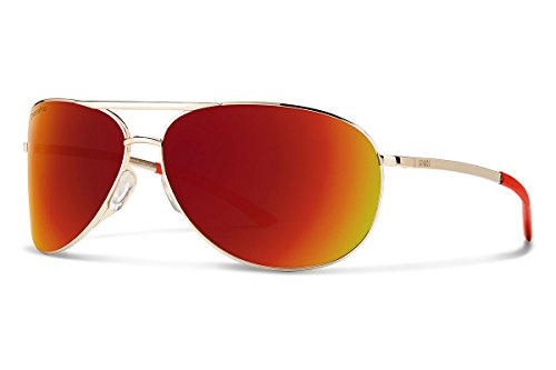 Smith Serpico 2 Sunglasses, Gold Frame ChromaPop Red Mirror Lens