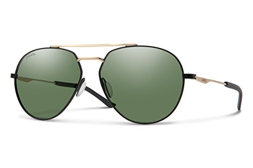 Smith Westgate Chroma Pop Polarized Sunglasses, Matte Black Gold Frame ChromaPop Polarized Grey Green Lens
