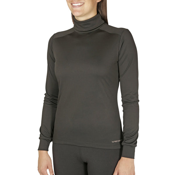 Hot Chillys Women's Peachskins Solid T-Neck Lightweight Relaxed Fit Base Layer