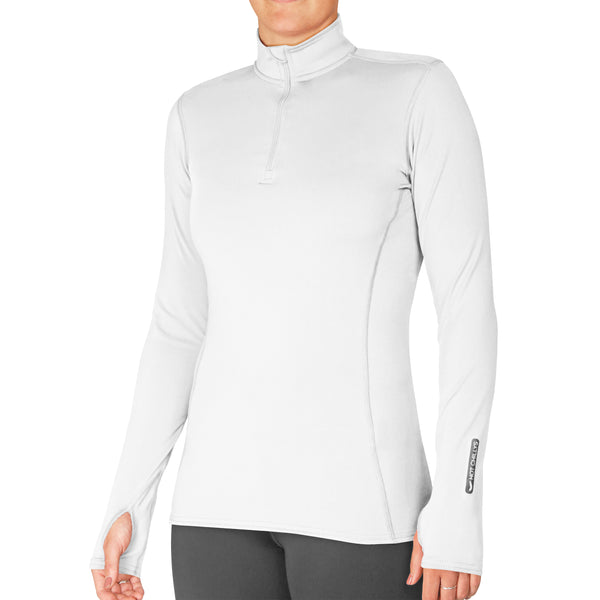 Hot Chillys Women's Micro-Elite Chamois Solid Zip-T Midweight Body Fit Base Layer