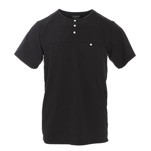 Kickee Pants Men's Solid Short Sleeve Performance Jersey Henley