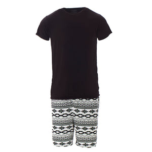 Kickee Pants Men's Print Short Sleeve Pajama Set with Shorts