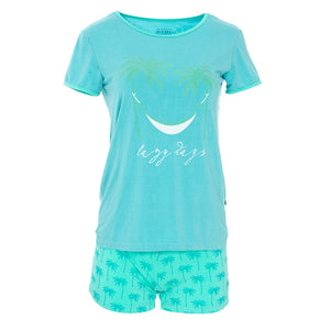 Kickee Pants Women's Print Short Sleeve Fitted Pajama Set with Shorts