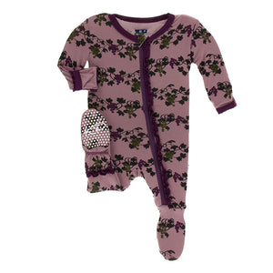 Kickee Pants Print Muffin Ruffle Footie with Zipper