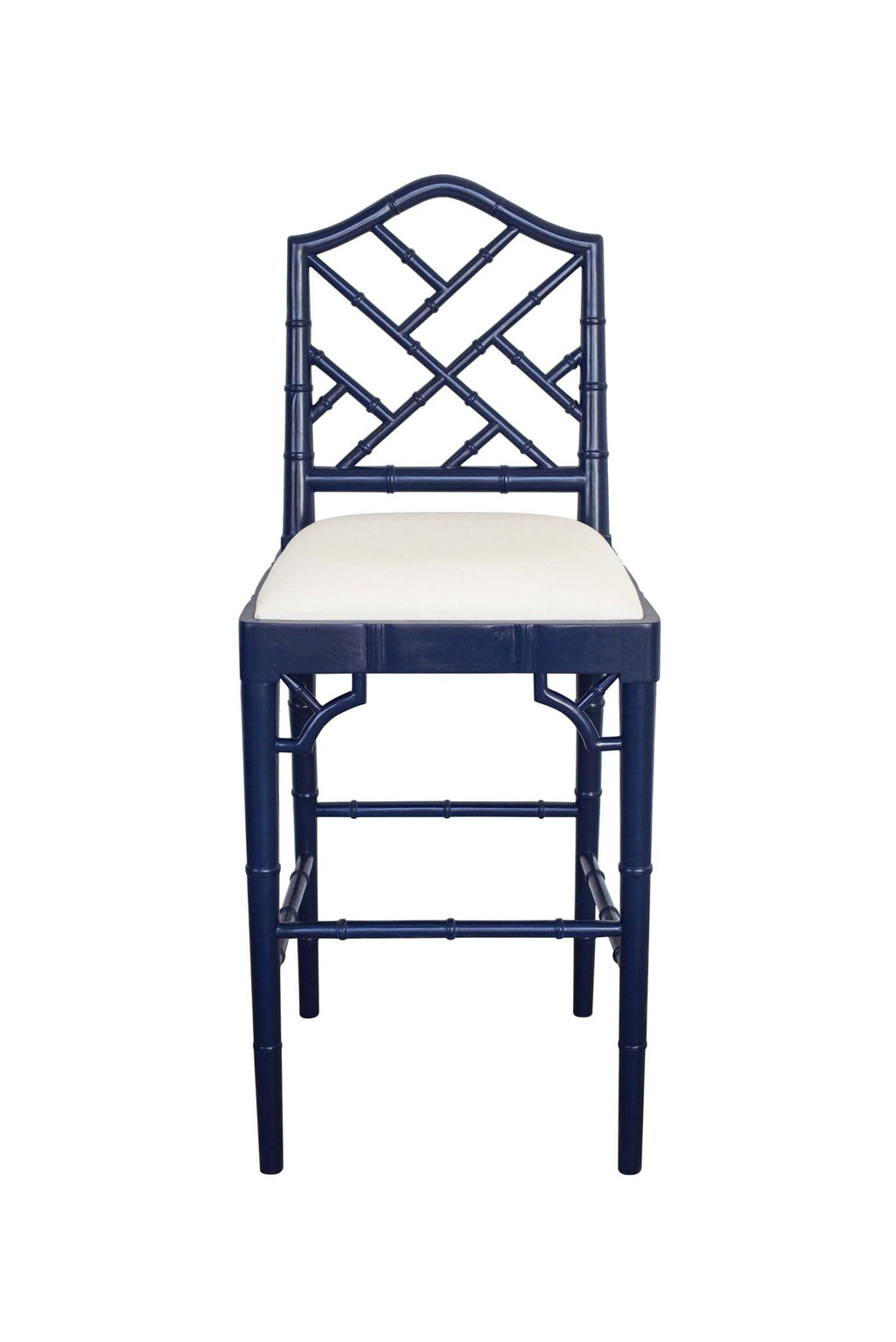 Classic Chippendale stool - Navy/off white cushion