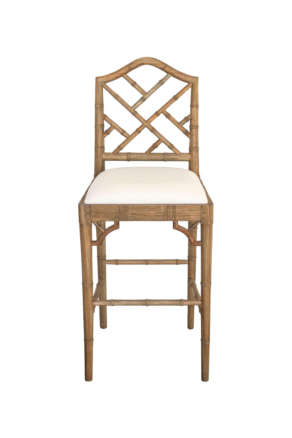 Classic Chippendale stool - Weathered oak/off white cushion