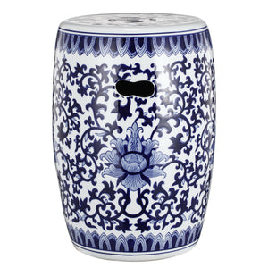 Blue and White Chinoiserie Ceramic Stool