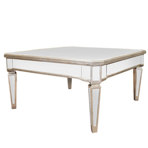Mirrored antique coffee table square