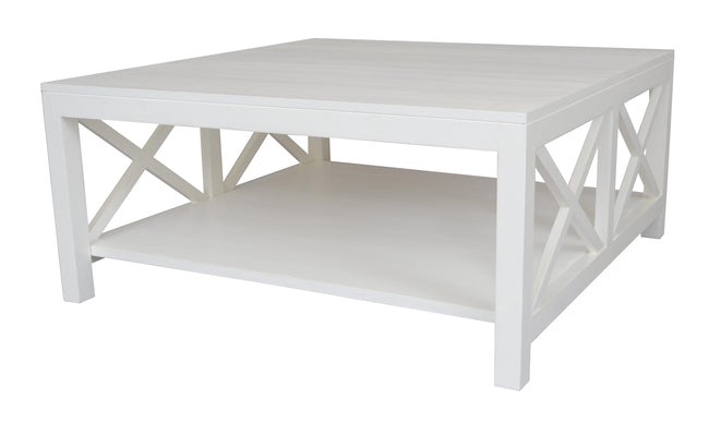 Hamptons Crossed Side coffee table - white