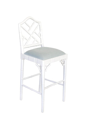 Classic Chippendale stool - white/duck egg blue cushion