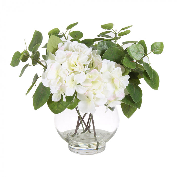Hydrangeas with vase - white