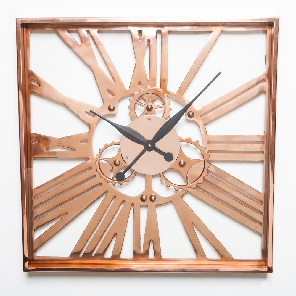 Gear Clock Square Copper