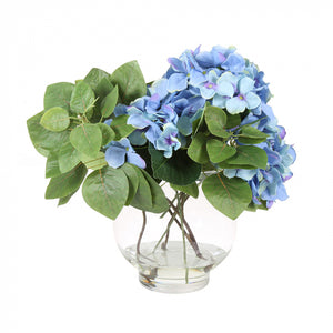 Hydrangeas with vase - blue