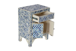 Bone Inlay Blue Diamond bedside table