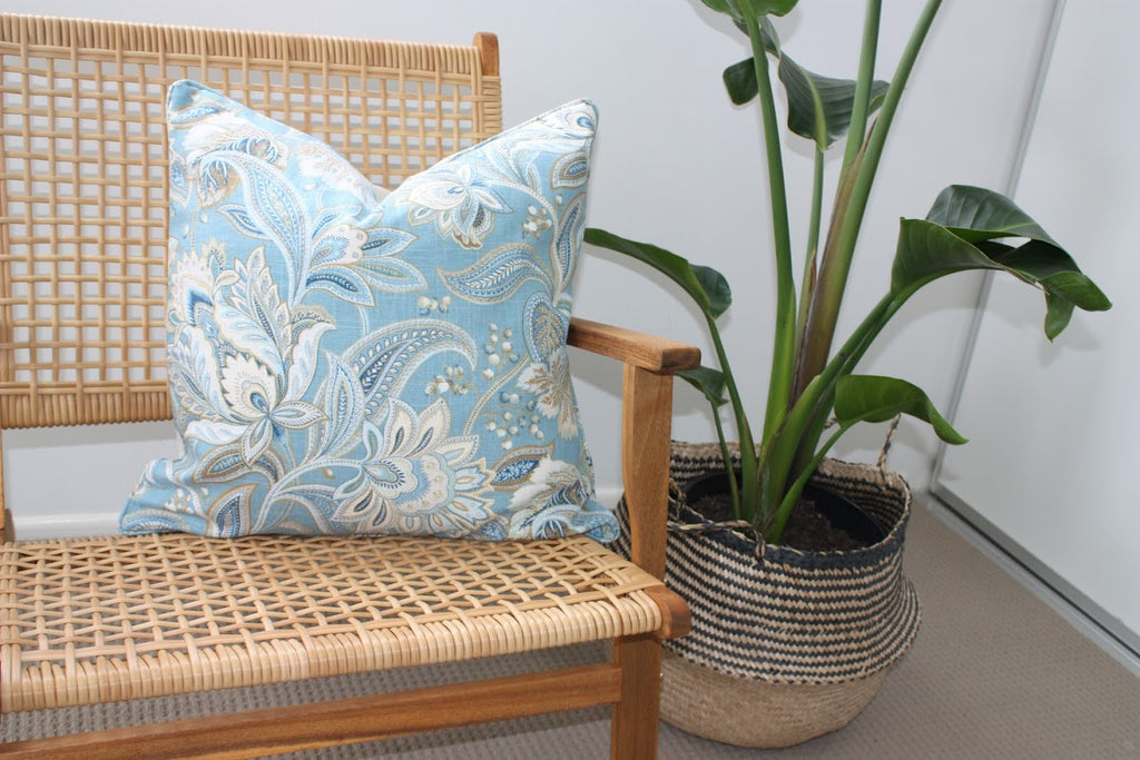 Ocean Blue Floral cushion cover