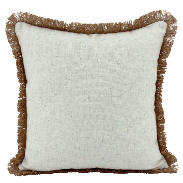 Off White Linen and Jute fringe cushion