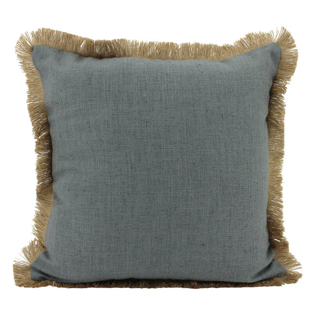 Dark Grey Linen and Jute fringe cushion