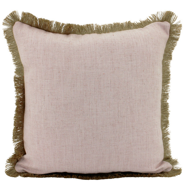 Pink Linen and Jute fringe cushion