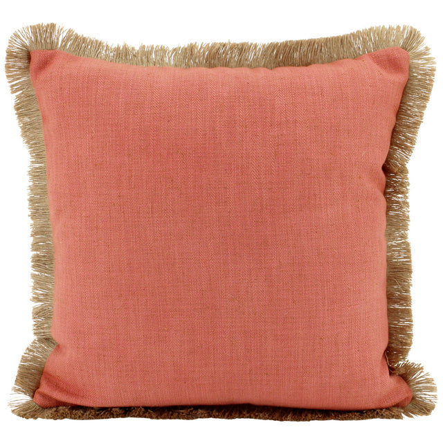 Burnt Orange Linen and Jute fringe cushion