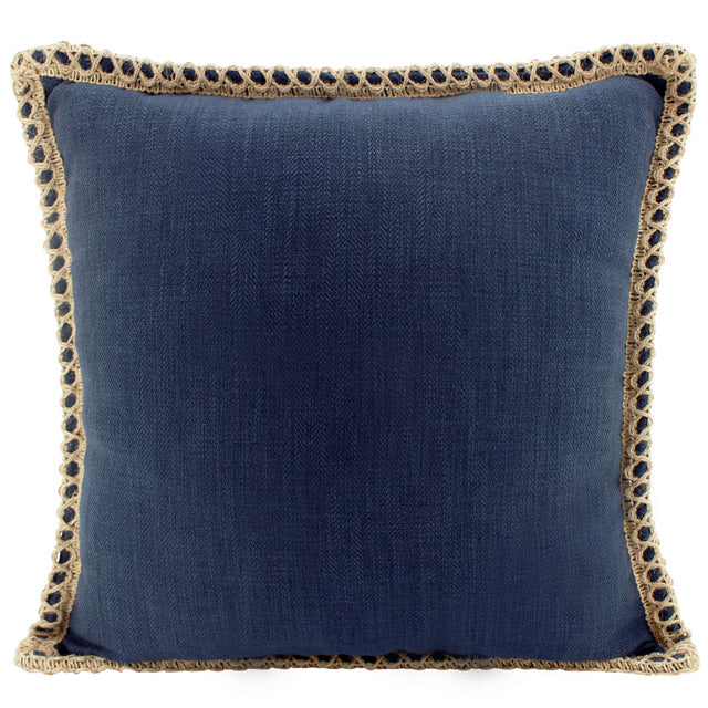 Navy Linen and Jute cushion
