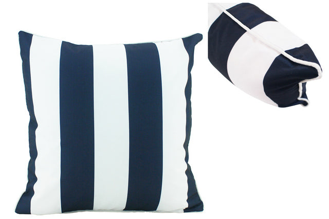 Large Coastal Stripe Navy Outdoor Cushions - pair