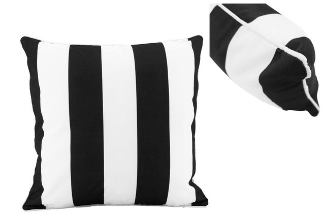 Large Coastal Stripe Black Outdoor Cushions - pair