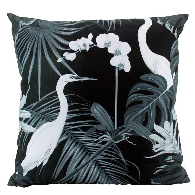 Large Black Stork Outdoor Cushions