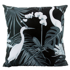 Large Black Stork Outdoor Cushions - pair