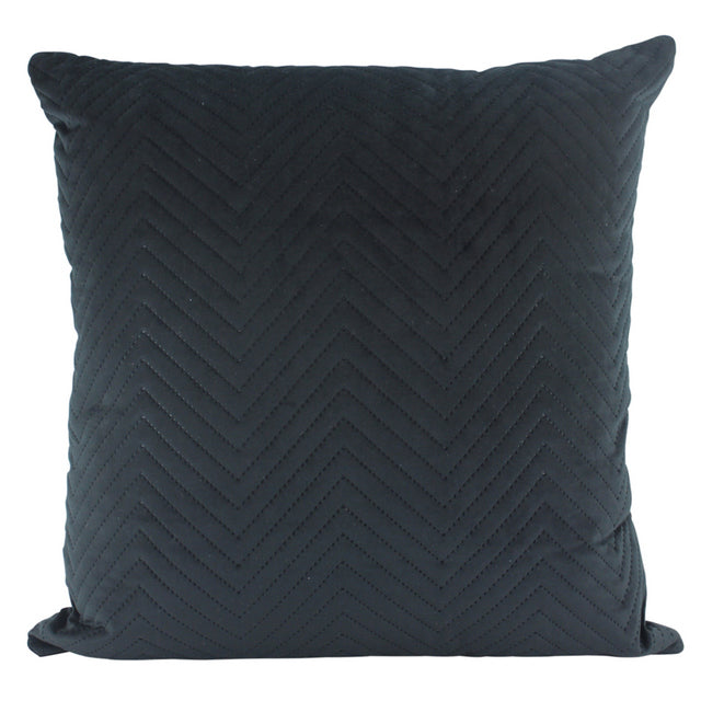 Black Chevron quilted velvet cushion